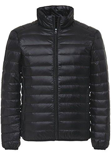 Faston ライト ダウン ジャケット メンズ 超軽量 カジュアル 防寒 暖かい 秋 冬 ウルトラライト コート 6NL-1 (M, ブラック)