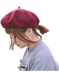 モ二コ ベレー レディース ベレー帽 帽子 無地 ウール 毛 暖 フェルト 赤 黒 白 ピンク ブラック カラフル m001&m002