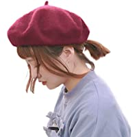 [モニコ] ベレー レディース ベレー帽 帽子 無地 ウール 毛 暖 フェルト 赤 黒 白 ピンク ブラック カラフル