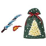 鬼滅の刃 DX日輪刀 + インディゴ クリスマス ラッピング袋 グリーティングバッグ3L クリスマスツリー ダークグリーン XG984