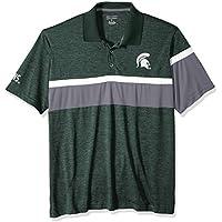 Champion (CHAFK) Mens NCAA Men's Short Sleeve Striped Polo Collared Tee, Michigan State Spartans, Small CBMEE4GAMZ, Dark Green, Small