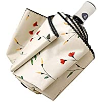 Windproof Umbrella, Cuby Compact Collapsible Travel Outdoor Umbrella, Auto Open Close Button for One Handed Operation, Anti-UV 210T Fabric- Sturdy, Easy Carrying (White Handle)