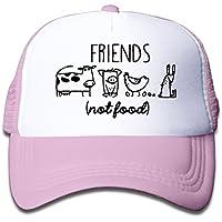 キッズ メッシュキャップ 通気性 大人気 ヒップホップ メッシュハット 牛 豚 鶏 ネズミ 友 食べ物 日焼け止め 帽子 カジュアル ストーリート系Pink プリント付き 無地