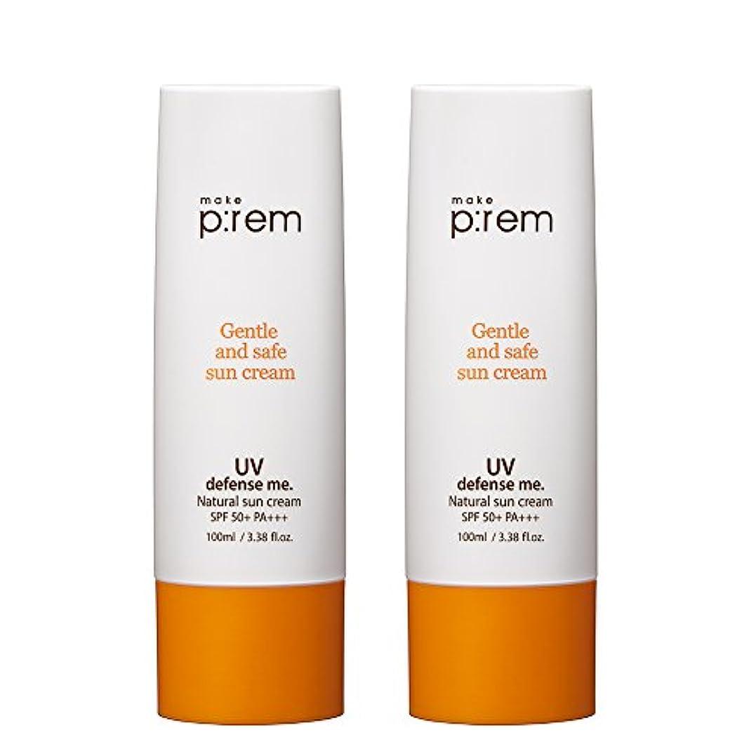 なめらかな懇願する航空会社(2個セット) x [MAKE P:REM] UV defense me. Natural sun cream ナチュラル サン クリーム 100ml SPF 50+ PA+++ / 韓国製 . 海外直送品
