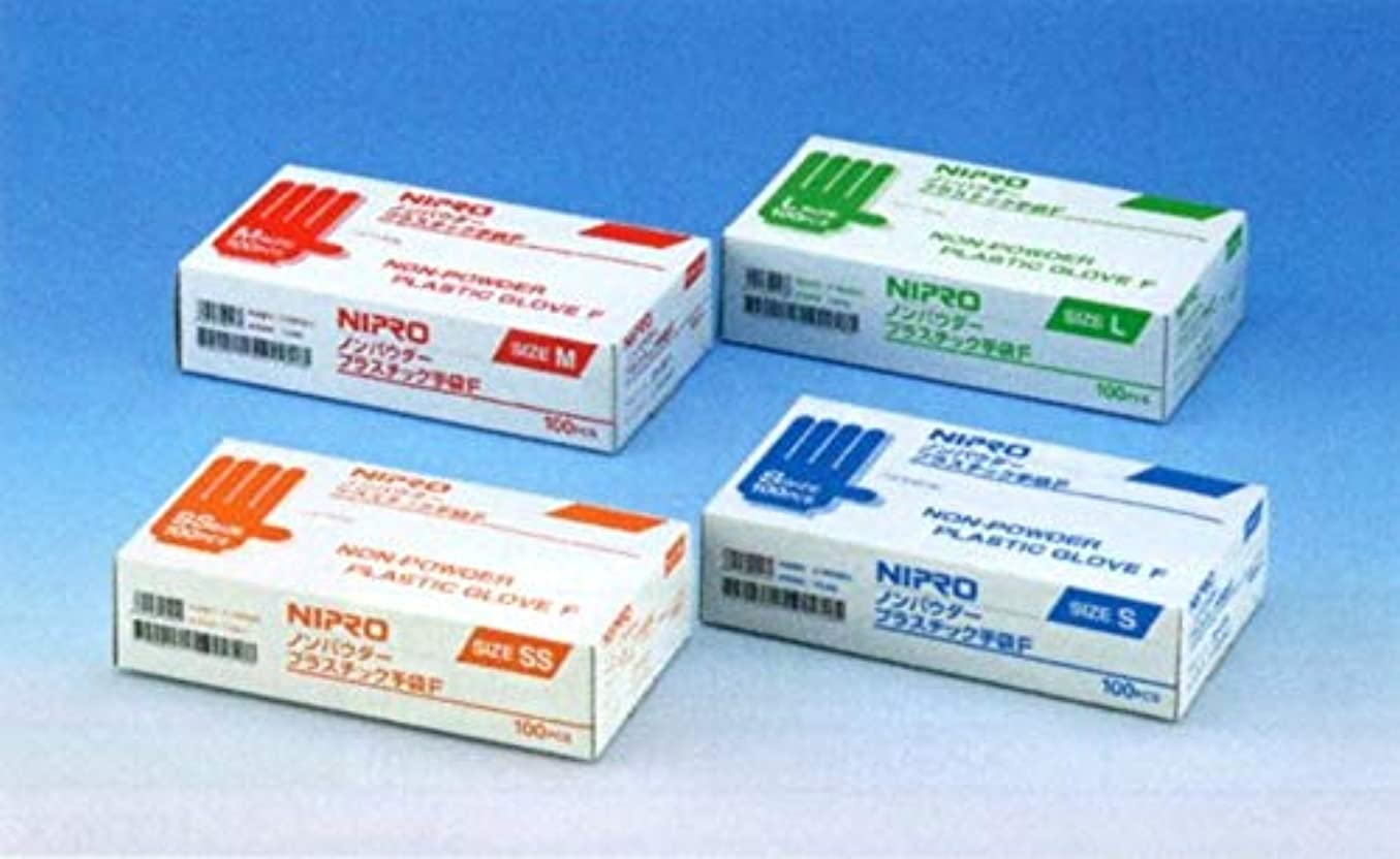 エキスほこり透けるニプロ ノンパウダープラスチック手袋F Mサイズ 100枚入 20-527