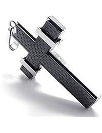 cljstoreジュエリーブラックシルバーステンレス鋼メンズクロスネックレスペンダントメンズの18 – 26インチチェーン