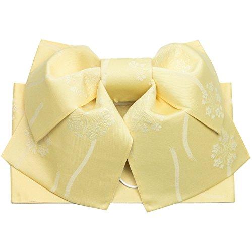 (キョウエツ) KYOETSU 作り帯 結び帯 浴衣帯 ワンタッチ 柄 (黄ベージュ系)