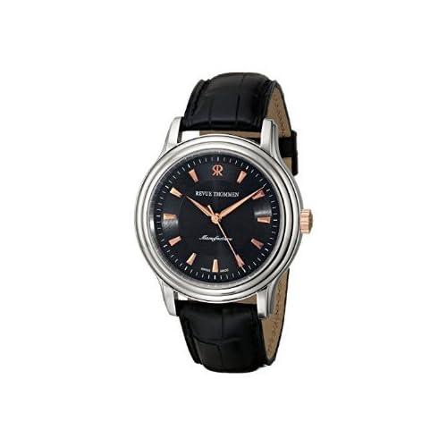 [レビュートーメン]Revue Thommen Men's 12200.2557 Classic Black Leather Strap Watch 腕時計 [並行輸入品]