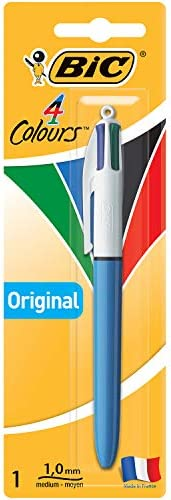 BIC 4 Colours Original Retractable Ball Pens Medium Point (1.0 mm) - Pack of 1 Pen
