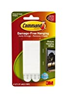 Command Strips 17206 Large White Picture Hanging Strip Pack 4 Count