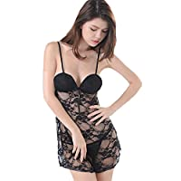 YOYI FASHION Women Sexy Black Floral Lace Lingerie Set Babydoll Chemise Nightdress with G-String