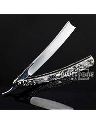 Klaxiaz - 高品質ヴィンテージアルミストレートエッジステンレススチールシェイパー理容カミソリ折りたたみシェービングナイフ