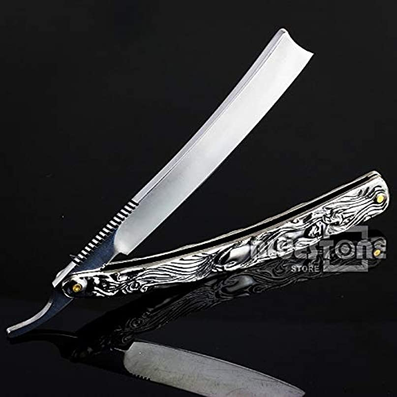 団結する気がついてどういたしましてKlaxiaz - 高品質ヴィンテージアルミストレートエッジステンレススチールシェイパー理容カミソリ折りたたみシェービングナイフ
