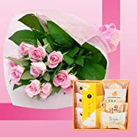 誕生日プレゼント ピンクローズ花束&山口銘菓スイーツギフトA お母さんへのメッセージカード付き (SE)