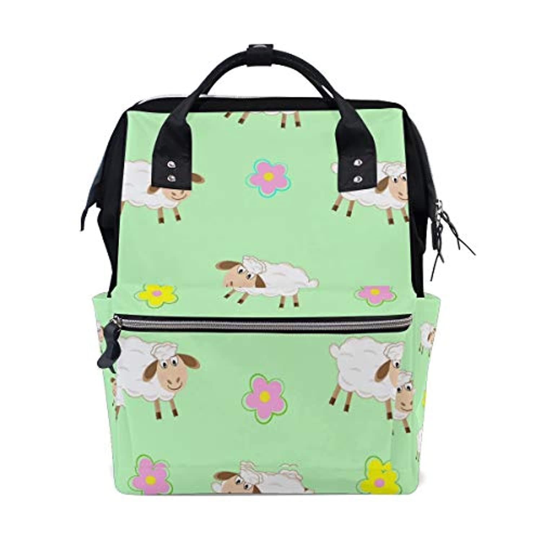 ママバッグ マザーズバッグ リュックサック ハンドバッグ 旅行用 羊と花柄 可愛い ファション