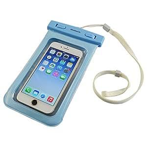 オウルテック 防水・防塵ケース もしもの時でも安心メーカー保証 ドライバッグ 両面透明 海/釣り/お風呂 iPhone 6s/6sPlus等対応 最高級保護レベルIP68取得 ネックストラップ付 ブルー OWL-MAWP03(BL)