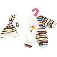 Dovewill  14-16インチ人形対応 ジャンプスーツ 帽子 パジャマ 全2色選ぶ  - コーヒー
