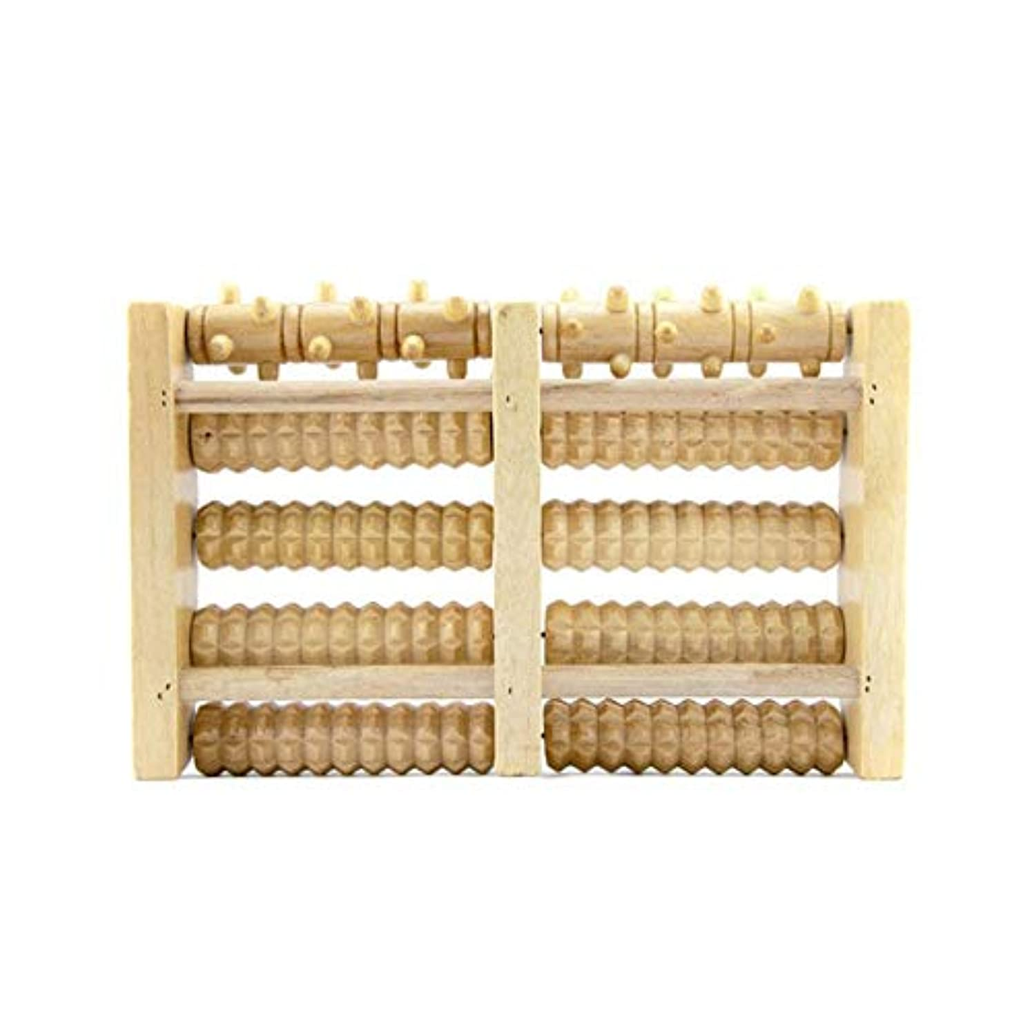 Wooden Foot Massager 5 Rollers Reflexology Relax Stress Pain Relief Blood Circulation Promotion Foot Care Instrument