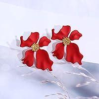 MEET2019 新ヴィンテージ幾何グリーンメタル花のスタッドピアス自由奔放に生きるステートメント色かわいい夏イヤリング韓国の宝石ピアス レディース 人気