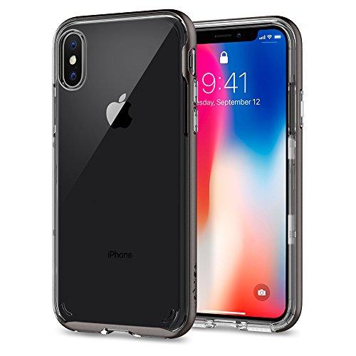 【Spigen】 スマホケース iPhone X ケース iPhone X バンパー 二重構造 背面クリア 米軍MIL規格取得 耐衝撃 ネオ・ハイブリッド クリスタル 057CS22172 (ガンメタル)