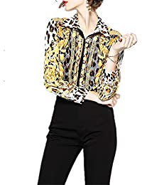 Hardy 女性のヒョウプリントスリムロングスリーブジョーカーラペルファッションカジュアルシャツ