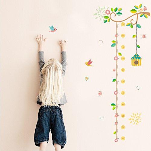 ZooArts 子供部屋 鳥かご 可愛いな小鳥 藤の蔓 花 取り外し可能なウォールステッカー 壁デカール 壁紙 壁の装飾 子供身長計 はがせる