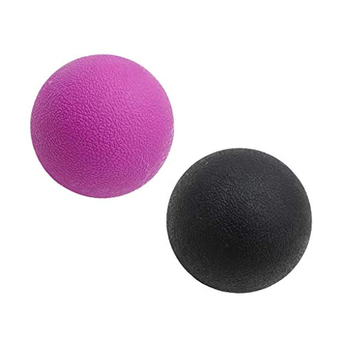 最初苦悩アナログマッサージボール トリガーポイント ストレッチボール トレーニング 背中 肩 腰 マッサージ 多色選べる - ブラックパープル