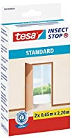 tesa 55679-00020-03パティオとバルコニーのドアの虫よけ止めフックとループの標準昆虫スクリーン、2 x 0.65 x 2.20 m - 白