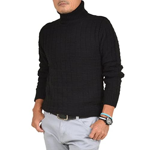 【サンタリート】 Santareet スクエア ジャガード タートルネック セーター BG-5301667 L ブラック