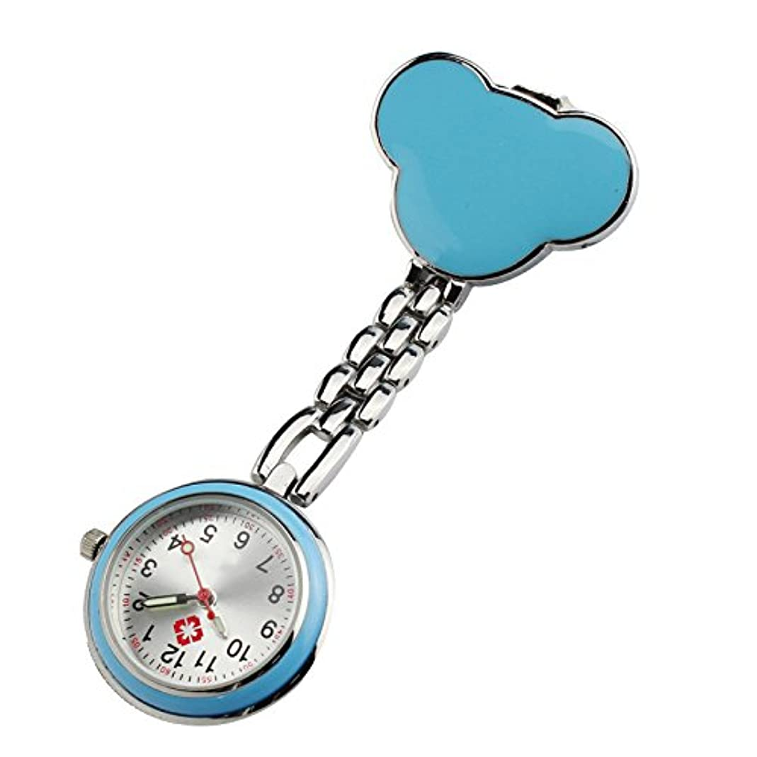 サポートオーガニックほんのOsize かわいいベア時計 看護師の腕時計 クリップオンハンギングチェーンポケットウォッチ医療用のクリップ懐中時計(青)
