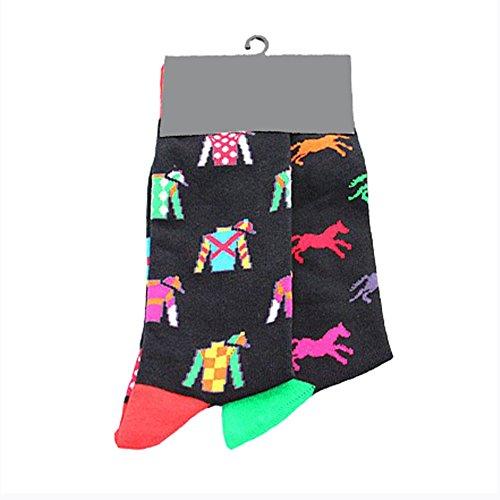 ZooArts 靴下 メンズ ソックス スニーカーソックス クール カジュアル スポーツ カラフル おしゃれ 面白い 通気性 快適 男性用 (馬)