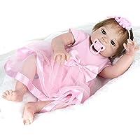 フルシリコン赤ちゃんベビー人形Reborn Girls 22インチWashable with Hair Sleeping Toys for Kids