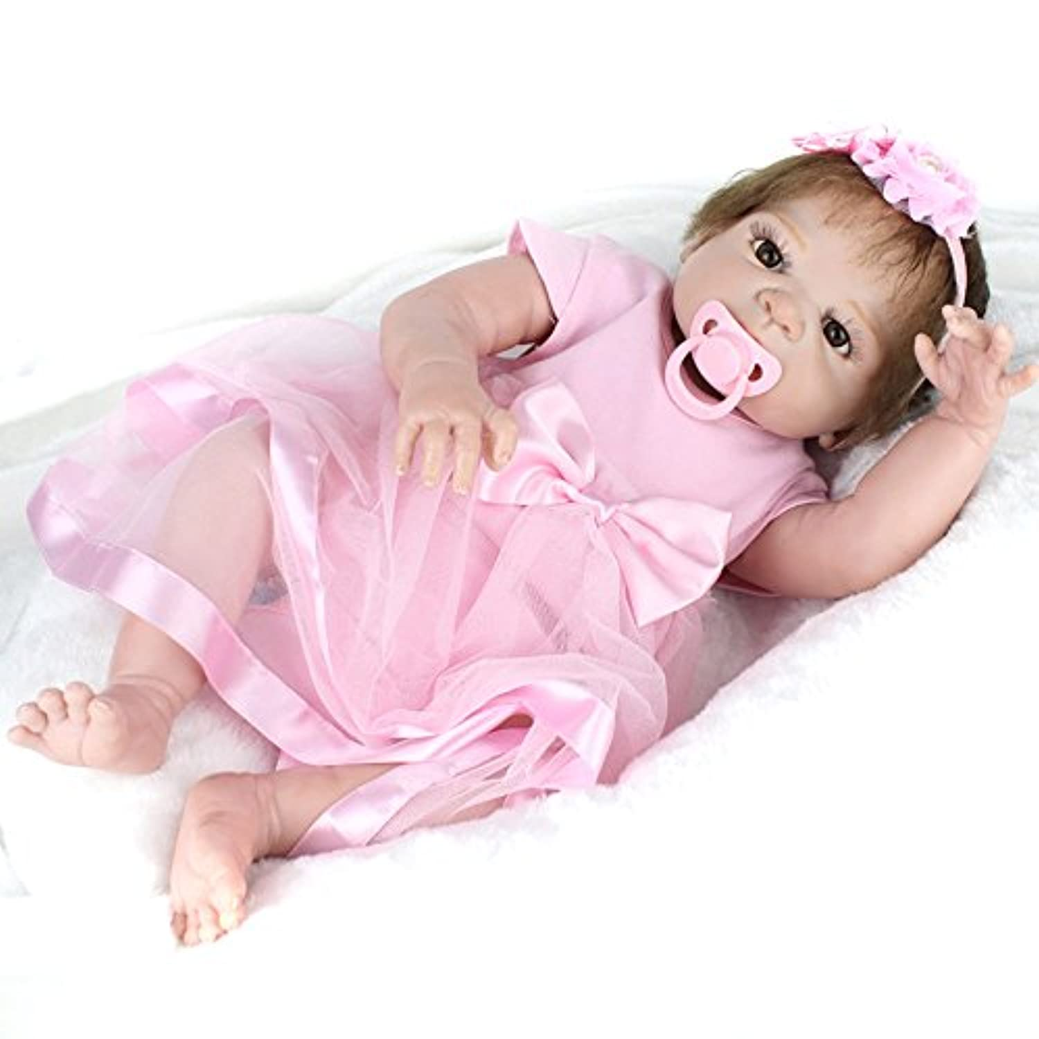 フルシリコン赤ちゃんベビー人形Reborn Girls 22インチWashable with Hair Sleeping Toys for Kids