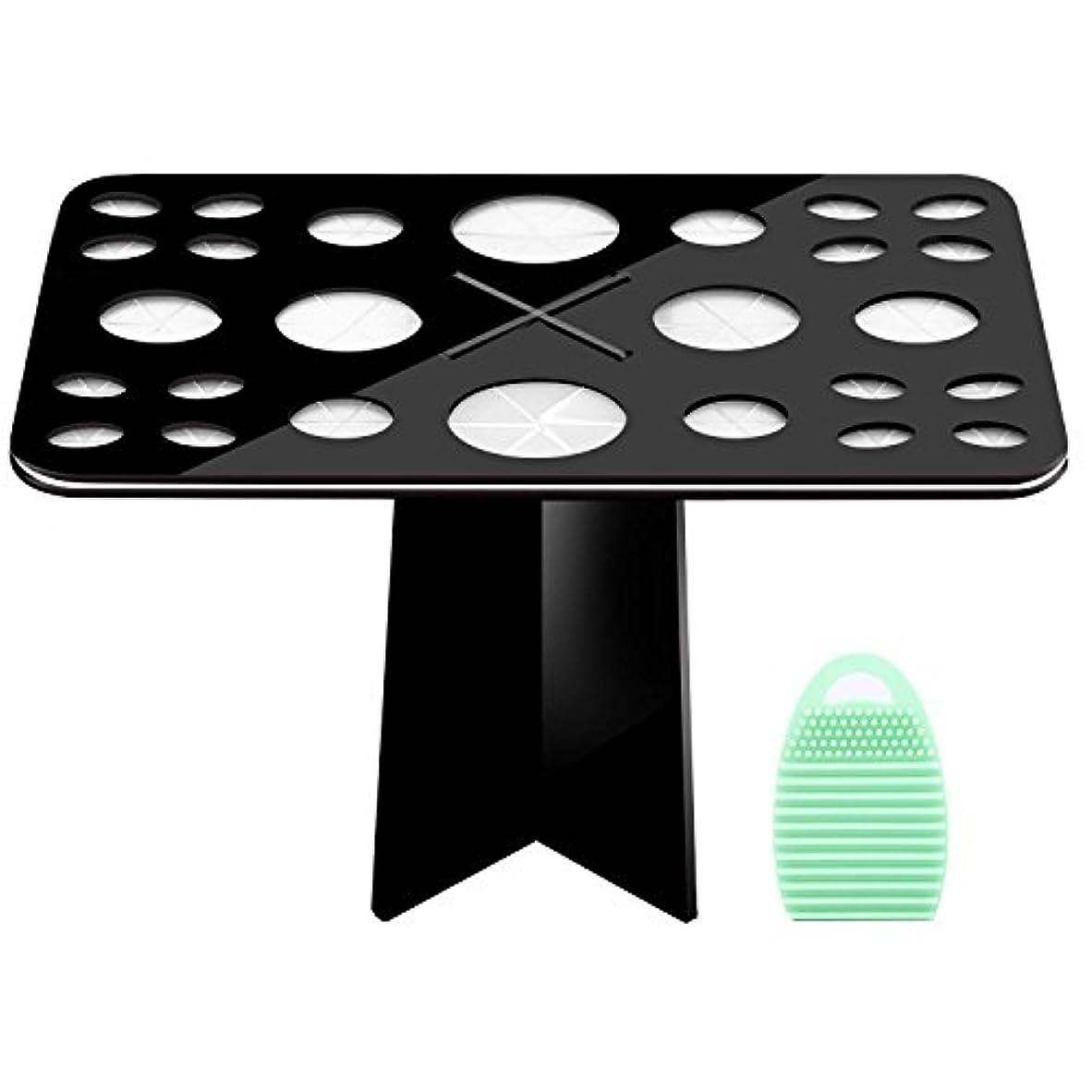 チェス哺乳類経験メイクブラシスタンド+メイクブラシクリーナーセット - Luxspire コスメホルダー 小型軽量の洗濯板 ブラシ洗濯とブラシ乾かすのに最適