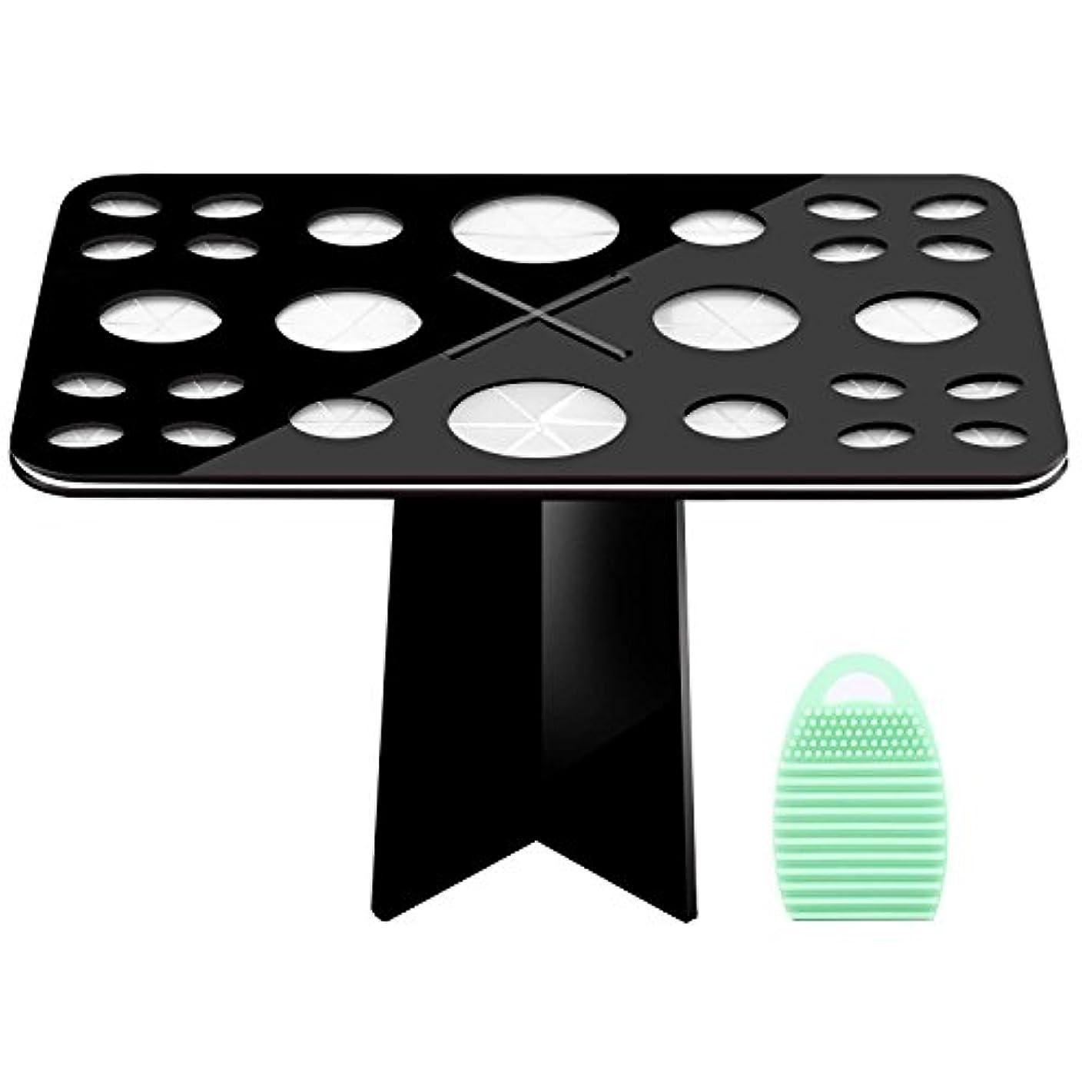 新しい意味従順な抜け目がないメイクブラシスタンド+メイクブラシクリーナーセット - Luxspire コスメホルダー 小型軽量の洗濯板 ブラシ洗濯とブラシ乾かすのに最適