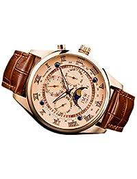 【JMW TOKYO】ピンクゴールド上級「ムーンフェイズ 」本革ベルトローマ数字インデックス100m防水タキメーター腕時計【世界限定300本】