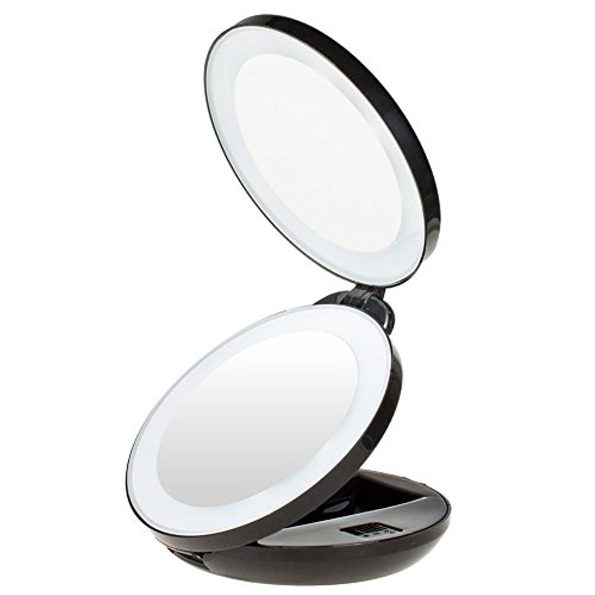 覚醒変成器リレーKEDSUM 手鏡 両面化粧鏡 コンパクトミラー LED化粧鏡 等倍鏡+10倍拡大鏡 LEDミラー 角度調整 折り畳み 丸型 おしゃれ ハンド 携帯ミラー 旅行ミラー 女優ミラー