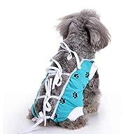 SfHx ペットの猫と犬の服、青とピンクのストラップ犬の足跡滅菌手術スーツ、通気性と快適な服 (Color : ブルー, Size : S)