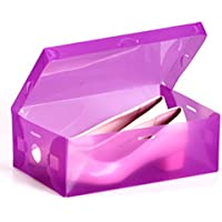 HuntGold 1X Home Thicken Plastic Shoes Box Stackable Container Shoe Organiser Storage Case Holder(Purple)