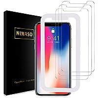 【3枚セット】Nimaso iPhoneX/iPhoneXs 用 強化ガラス液晶保護フィルム 【日本製素材旭硝子製】【ガイド枠付き】 3D Touch対応/硬度9H/高透過率 (iPhone X/Xs)