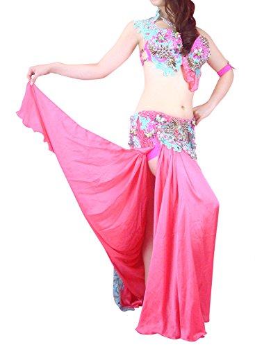 ベリーダンス衣装 エジプト オリエンタル 発表会 ステージ ハフラ 本格派 Hanan ピンク (M-L)