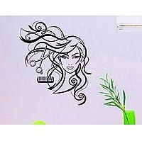 Ansyny 42 * 48センチ美容院の壁のステッカー装飾笑顔美容長い髪はさみ櫛サロン壁デカールビニール壁画壁紙