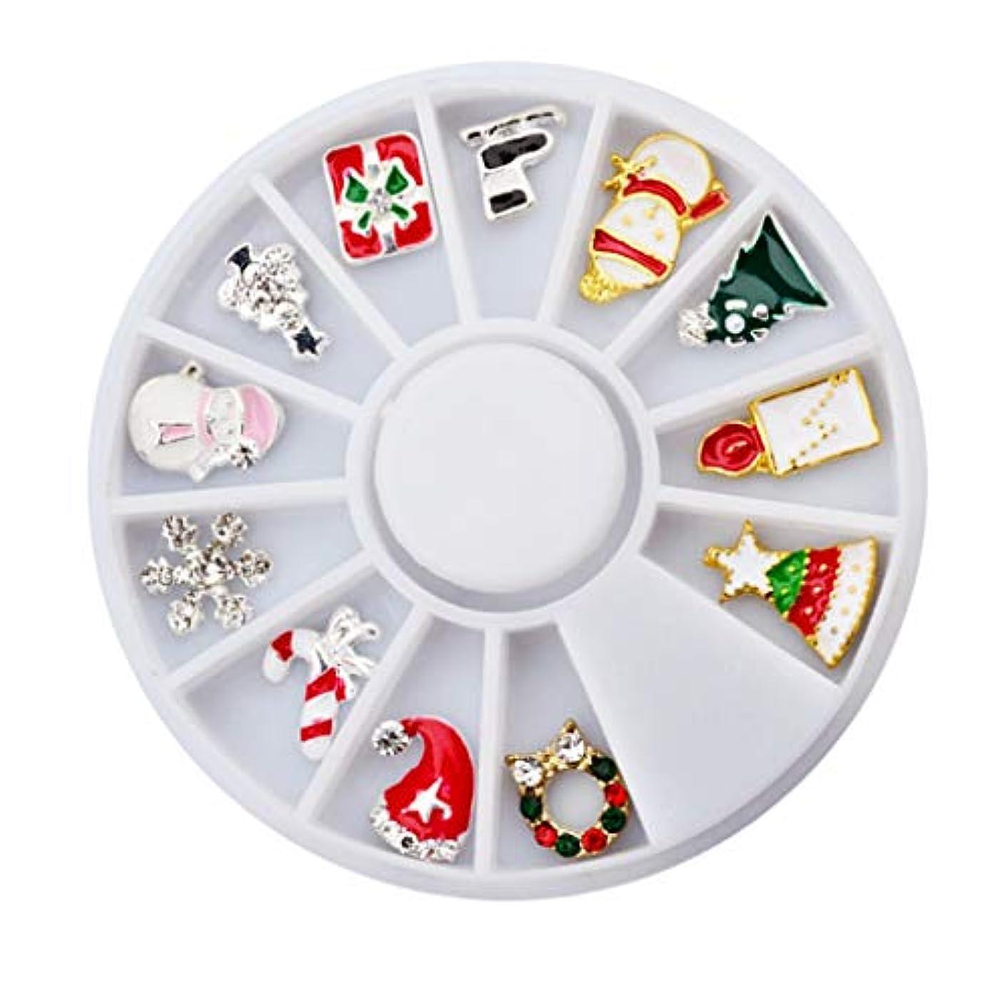 忠実学者エリートToygogo ネイルアート3Dアクセサリー12個混合クリスマス合金デカールDIY飾り装飾ステッカー