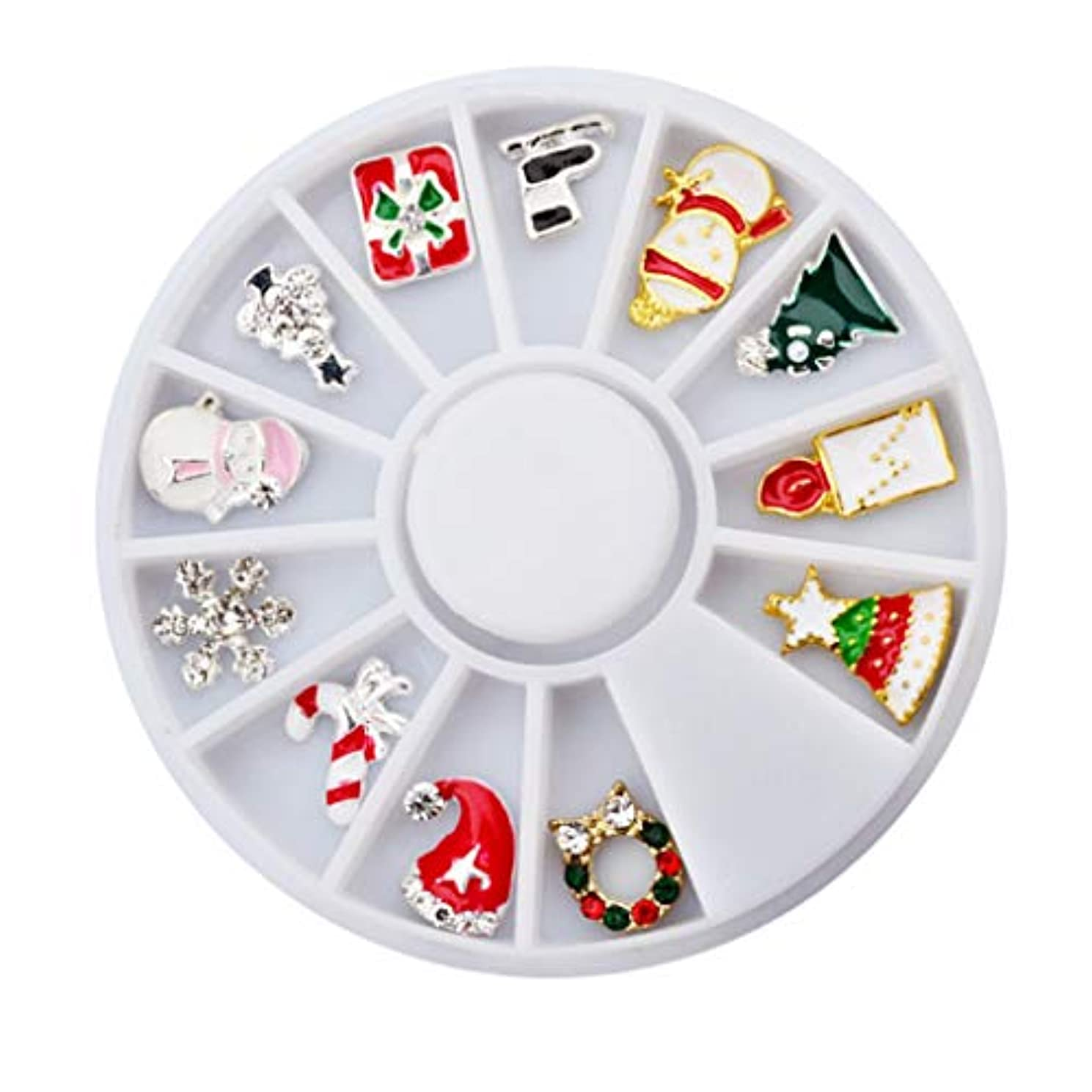 おしゃれなリングスキッパーToygogo ネイルアート3Dアクセサリー12個混合クリスマス合金デカールDIY飾り装飾ステッカー