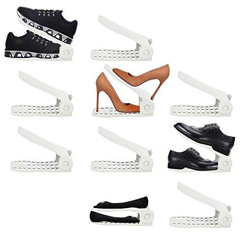 LITTHING 靴ホルダー 省スペース 靴スタンド10個入りシューズ収納高さ調整機能付き下駄箱安定 下駄箱省スペース滑りとめ (ホワイト)