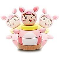 ベビーキッズ木製学習教育玩具レインボータワータンブラー動物幾何図形ブロック列並べ替えMatching Toy nhrdcuj-5