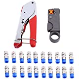 Coaxial Cable Crimper Wire Stripper Compression Tool with F RG6 RG59 Connectors