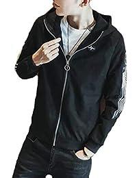 Keaac メンズファッションスエードロングスリーブフードジャケットコート