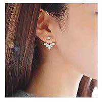 Olbye Lotus Ear Jacket Front Back Earrings Gold Stud Earrings Everyday Earrings Jewelry for Women and Girls