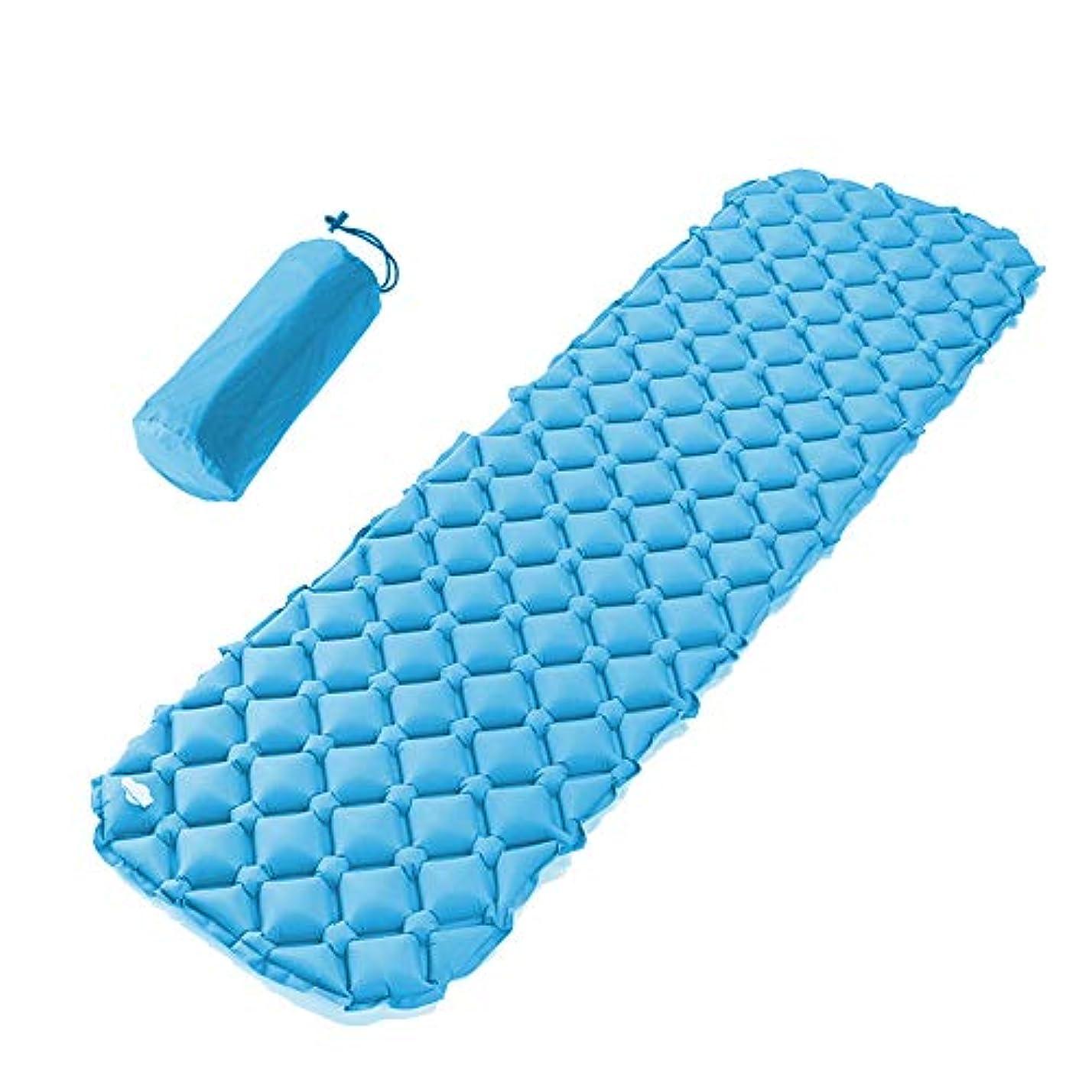 トーナメント干渉奨学金キャンプ用スリーピングマット、軽量でインフレータブル、コンパクトなウォーキングエアマットレス(ブルー)